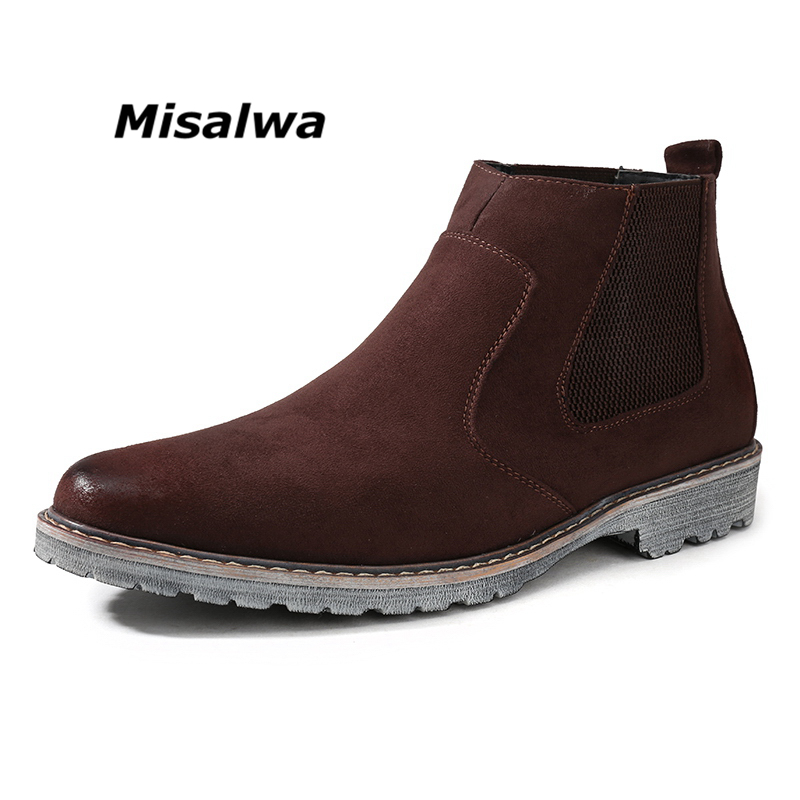 Misalwa Male Black Natural Smooth Cow Suede Leather Chelsea Boots Men's Brown Elastic Breathable Martin Boots