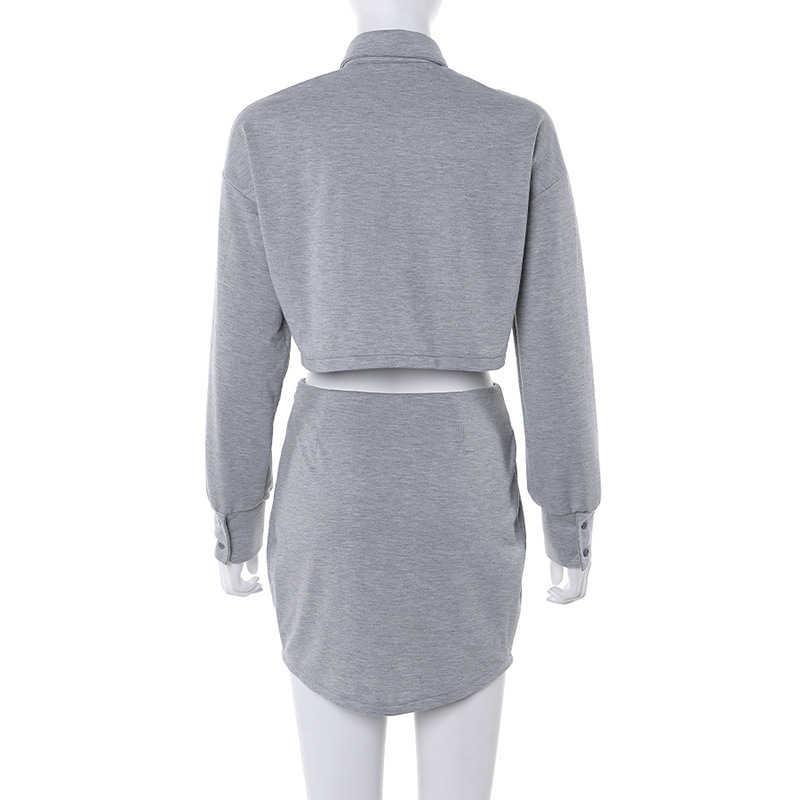 Survetement ファムグレークロップトップブラウスシャツとミニスカート 2 個セットファッション女性カジュアル長袖ジャケットトラックスーツ