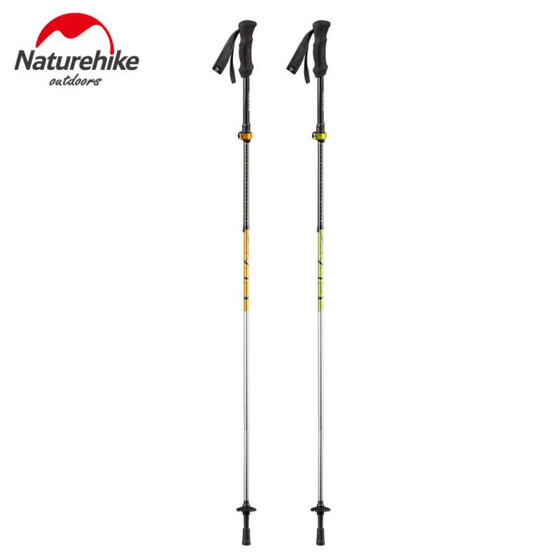 Naturehike 2Pcs/Lot Nordic Walking Poles Ultralight Outdoor Carbon Trekking Walking Stick Folding Cane Camping Hiking Poles naturehike new floding pole trekking hiking walking stick cane aluminum alloy adjustable pole self outdoor 120cm green grey blue