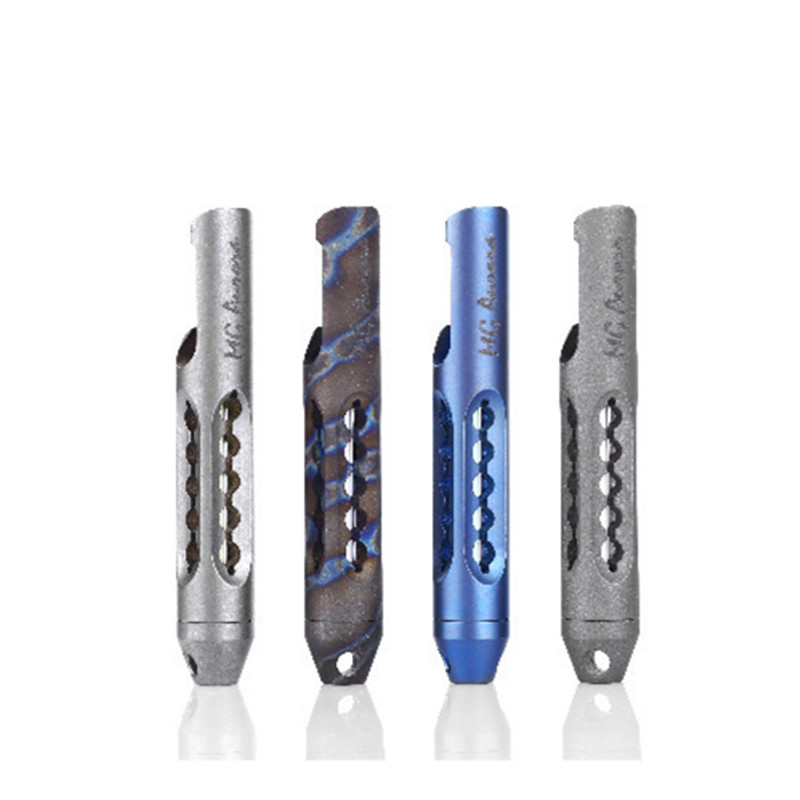 EDC TC4 Titanium Alloy Tritium Gas Lamp Night Light Opener Keychain Fluorescent Tritium Trachea Multi Tools Self-luminous tito titanium alloy double holes refers to the tiger edc self defense tools multi function key ring multipurpose keychain