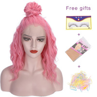 I's a wig 16'' Synthetic Front Lace Wigs Short Water Wave Pink Hair for Women Perucas Front Lace Hair can Cosplay Free Part Wig
