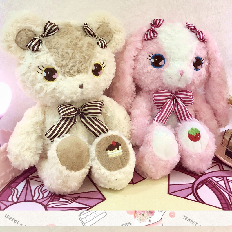 Cake Teddy Bear Strawberry Rabbit Plush Toy Stuffed Animal Rose Velvet Hug Bunny Pink Heart Girl Birthday Valentine's Gift BF101 cute animal soft stuffed plush toys purple bear soft plush toy birthday gift large bear stuffed dolls valentine day gift 70c0074