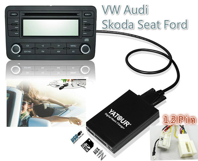 ФОТО USB SD AUX MP3 Yatour Audio Digital music changer for VW Audi Concert 3,Chorus 3 Skoda Seat 12-pin MP3 Adapter  Interface