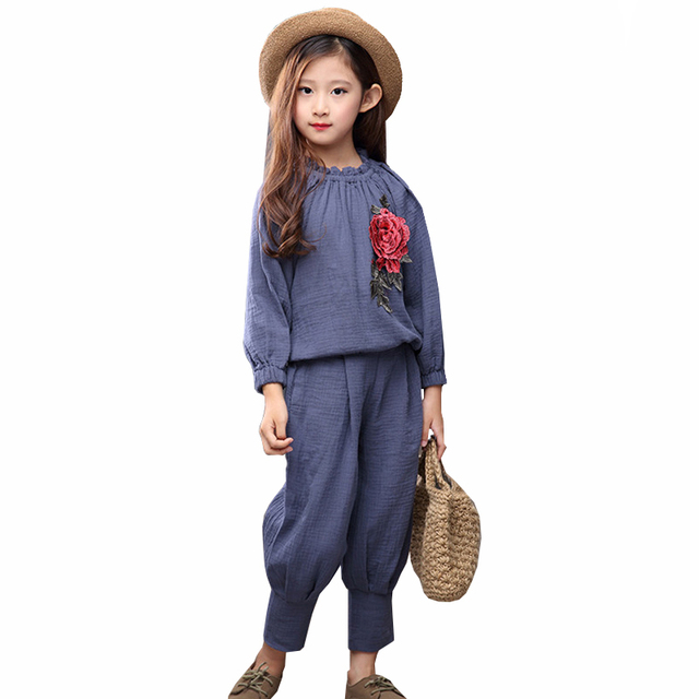 2016 Autumn Winter Style Baby Flower Embroidery Loose 2pcs/set Kids School Tracksuit Uniform Sport Suit Girls Clothing Sets