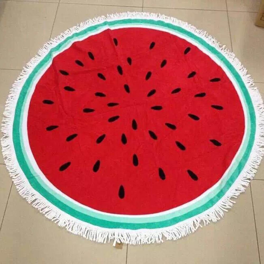 round beach towel pizza watermelon kiwi printed microfiber fabric cotton 150cm beach towel scarf