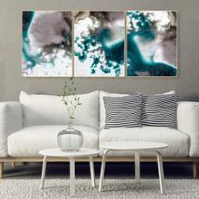 Laeacco Wall Art Abstract Canvas Painting Watercolor 3 Panel Posters and Prints Pictures For Living Room Home Decor