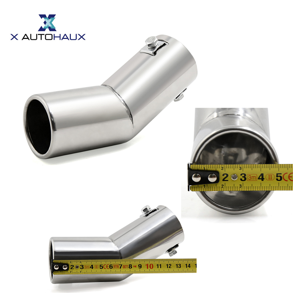 цена на X AUTOHAUX 155 x 50mm/ 6.1 x 2(L*D) Stainless Steel Curved Exhaust Tail Car Muffler Tip Pipe Fit Diameter 3/5 to 1 1/2 Cover