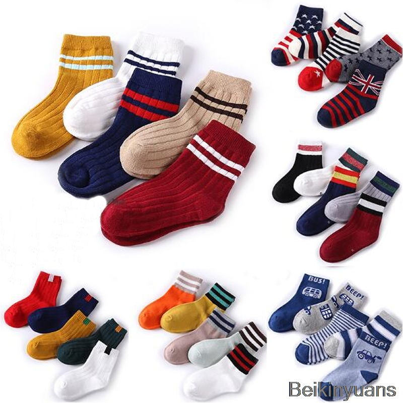 1 Piece/5 Pair Autumn Winter Spring Children's Cotton Socks Student Socks Floor Anti-skid Socks Boys And Girls Multi-color Sock