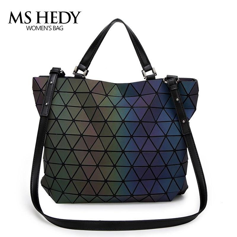 MS HEDY Women Handbags Luminous baobao Bag Female Diamond Tote Geometry Quilted Shoulder Bags Laser Plain Folding Handbags bolso