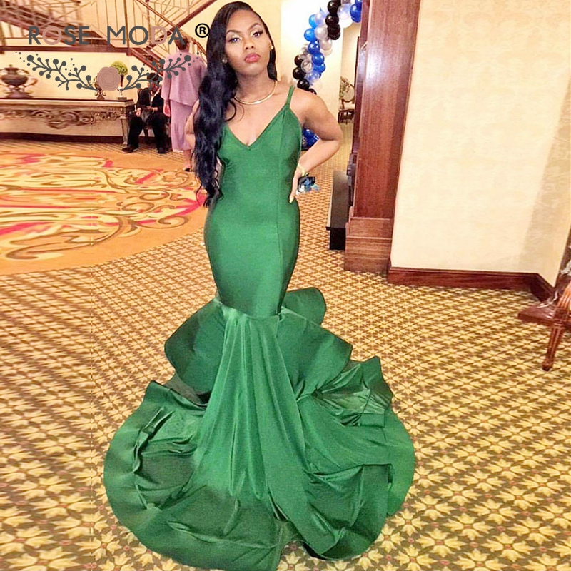 Rose Moda V Neck Green Mermaid Prom Dress with Train Formal Party Dress Reflective Dresses 2019