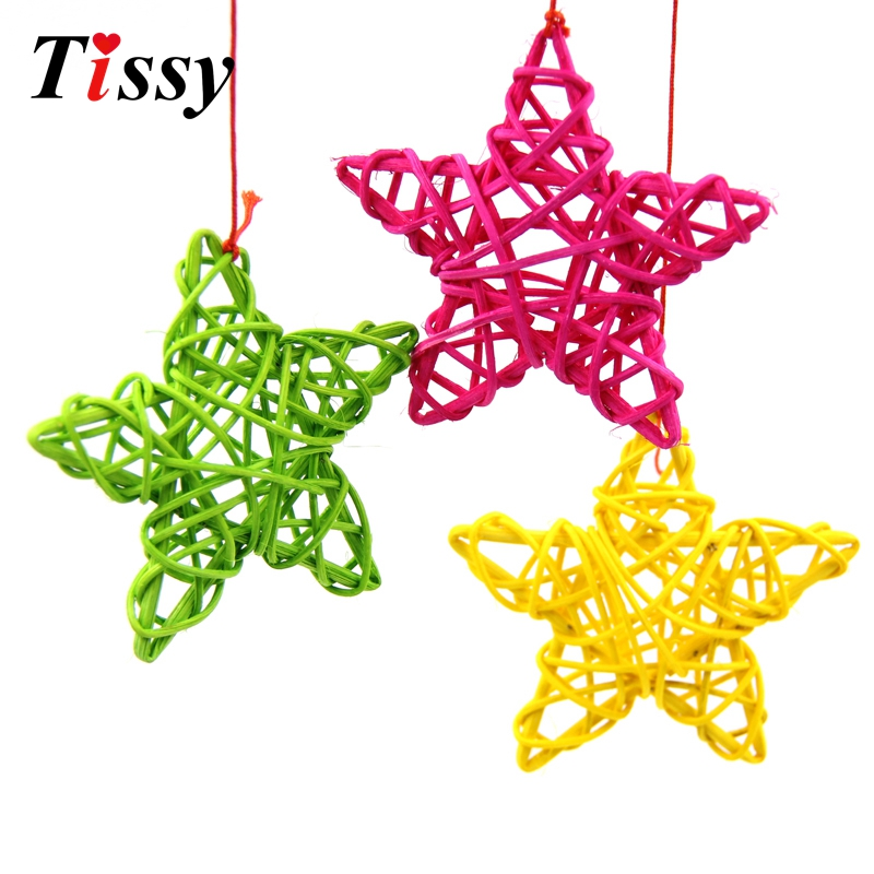 9CM 10PCS Lovely Rattan Star Sepak Takraw Christmas/Birthday&Home Wedding Party Decorations DIY Ornaments Rattan Ball Kids Toys