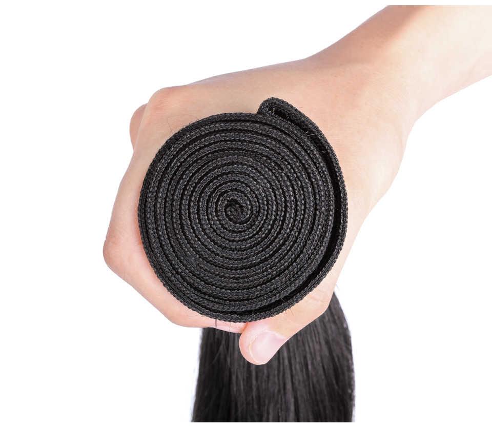 Pelo virgen brasileño Yonne recto 3 paquetes de tejido de cabello humano paquetes de Color Natural