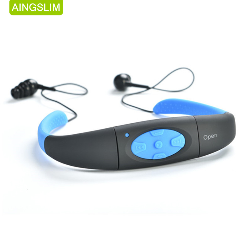 AINGSLIM IPX8 Waterproof 8GB Underwater Sport MP3 Music Player Neckband Radio Stereo Audio Earphone with FM for Diving Swimming