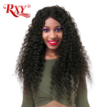 RXY Deep Wave Wigs 8-24 inch Glueless Lace Front Human Hair Wigs For Black Women 150% Non Remy Brazilian Wig With Baby Hair #1B
