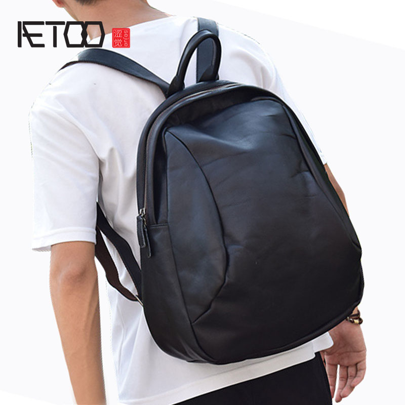 AETOO 2017 new retro tannage shoulder bag British first layer of leather men's backpack leather bag aetoo spring and summer new leather handmade handmade first layer of planted tanned leather retro bag backpack bag