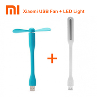 Hot!! Original Xiaomi USB Fan + USB LED Light Mini Power-saving Quite Flexible Adjustable USB Cooling Fan Cooler for Power Bank