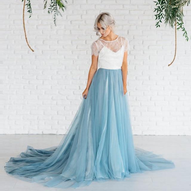 412df7ba5 Long Sweep Train Tulle Skirt 2017 Custom Made Tutu Women Skirts For Wedding  Fairy Dusty Blue Maxi Long Skirts For Bridal-in Skirts from Women's  Clothing on ...