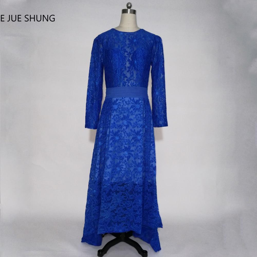 E JUE SHUNG Royal Blue Lace Hi low