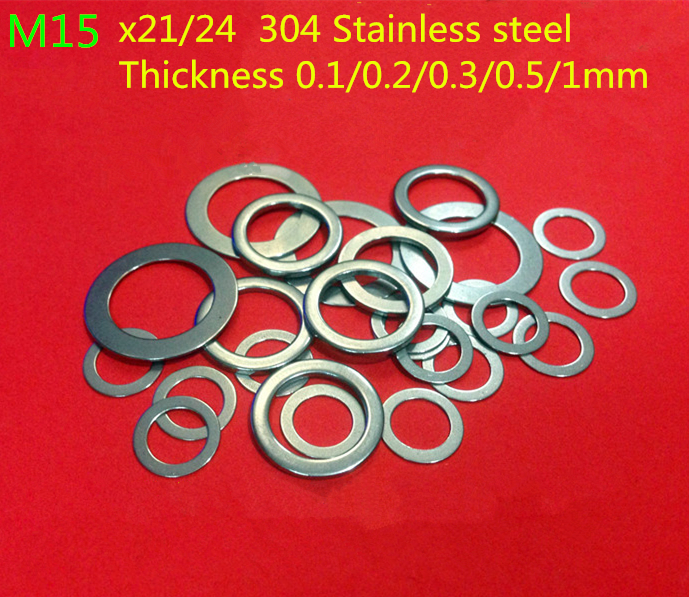 100PCS M15 flat Thin washer shim 0.1mm 0.2mm 0.3mm 0.5mm 304 Stainless Steel Ultra-thin Flat Washer Gasket Gap Adjustment washer image
