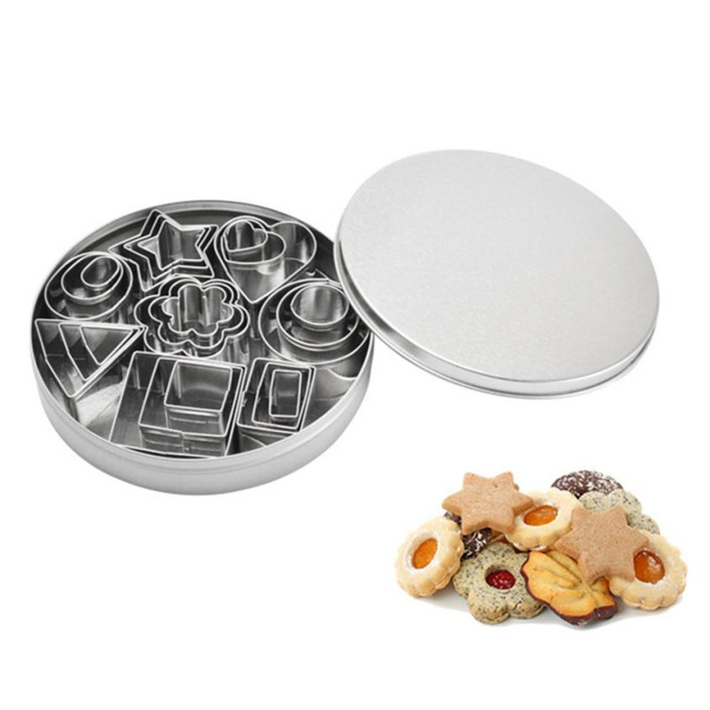 24PCS Stainless Steel Cake Biscuit Cutting Mold DIY Oven Baking Pastry Cookie Moulds Set Flower/Square/Round shape drop shipping
