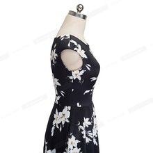 Nice-forever Vintage Floral Printed Round neck Pinup vestidos A-Line Business Women Party Flare Swing Dress A117