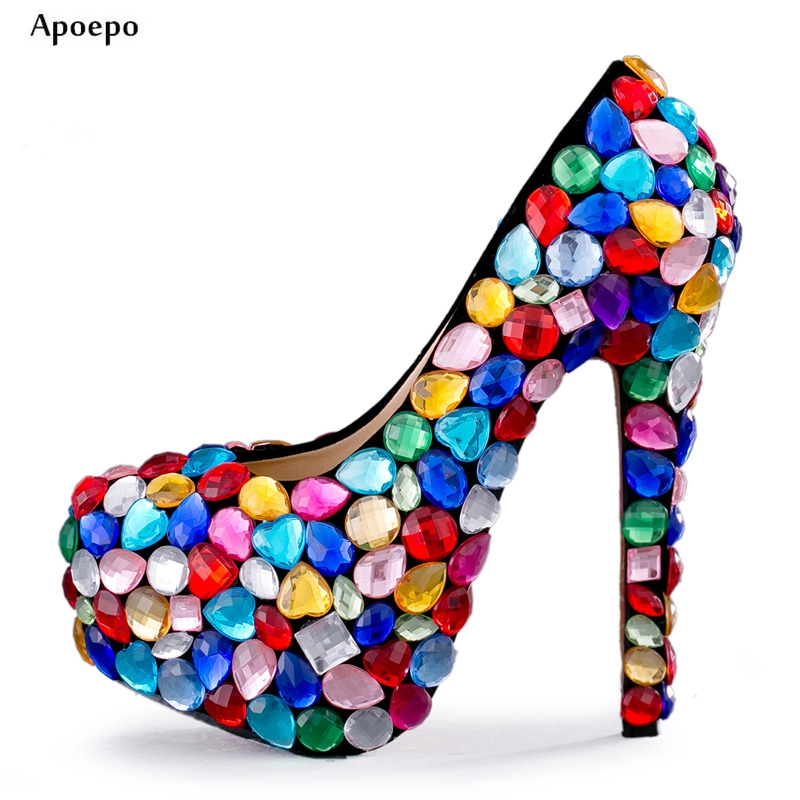 Apoepo Woman High Heel Shoes Sexy Platform Pumps 2018 Colorful Crystal Embellished Thin Heels Shoe Slip-on Wedding Heels thin heels pearls diamonds large ultra high heel platform shoe shoes of high quality for the dating and wedding ceremony