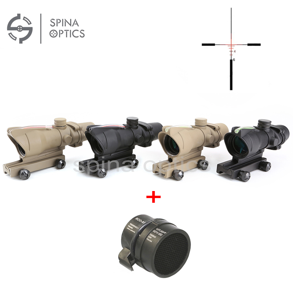 Hunting Riflescope ACOG 4X32 Real Fiber Optics Red Green Illuminated Chevron Glass Etched Reticle Optical Sight 4x32 hunting real optical fiber scope red green glass etched bdc or chevron reticle sights