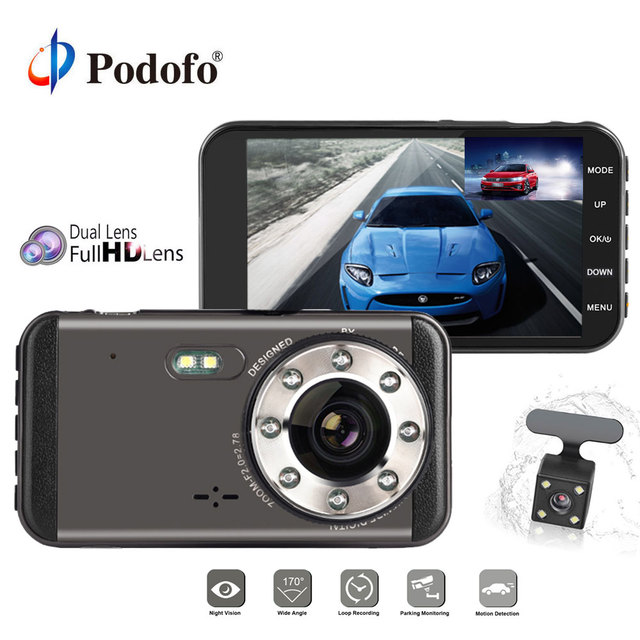 Podofo Dual Lens Dash Cam Car DVR Camera FHD 1080P 4'' IPS Screen Night Vision Video Recorder Car Camcorder With Rearview Camera