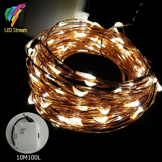 Waterproof timer 33ft 10m aa battery powered 100 led copper wire waterproof timer 33ft 10m aa battery powered 100 led copper wire string fairy light lamp garden mozeypictures Images