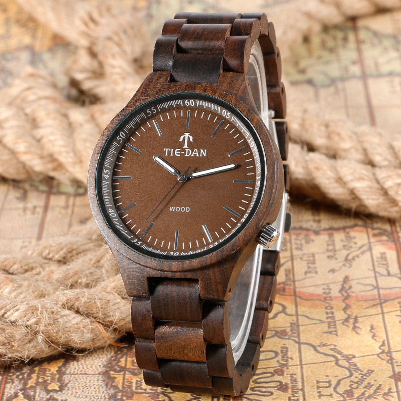 2017 Original Wood Watch High Quality Fold Clasp Full Wooden Watches Bamboo Men Sports Quartz-watch Creative Handmade Clock Gift hand made natural wood mens quartz watch wooden watchband bracelet clasp simple design dial high quality male watches gift