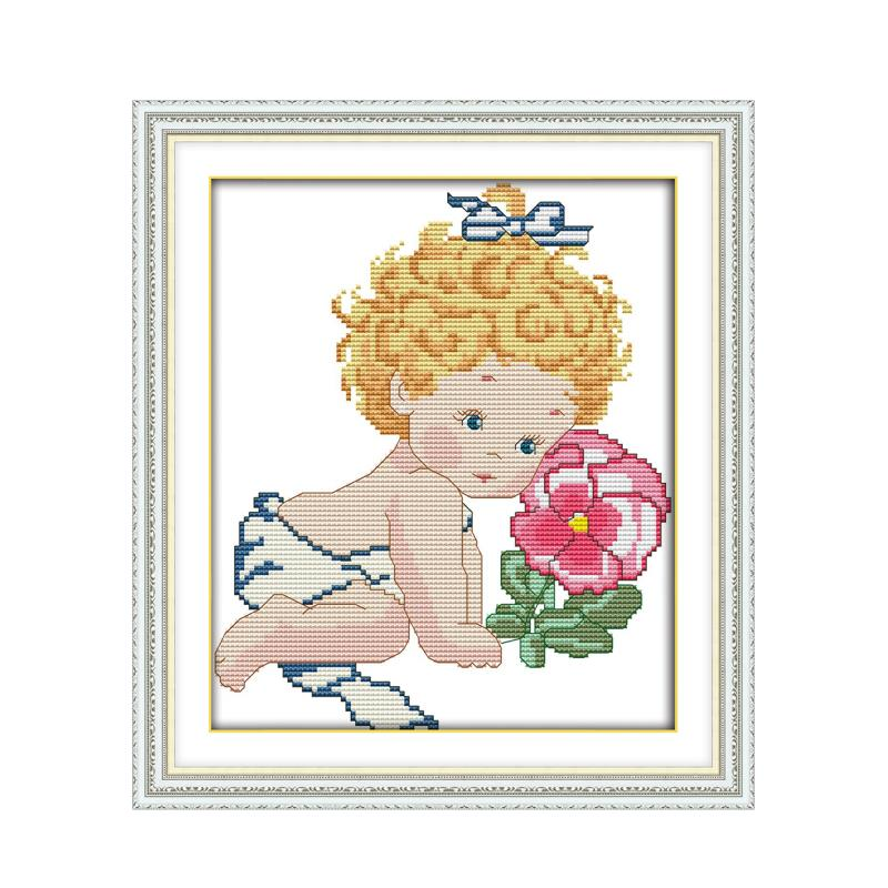 Joy Sunday Small cute baby and flowers small fresh handmade material package cross stitch suite 11CT 14CT sewing embroidery