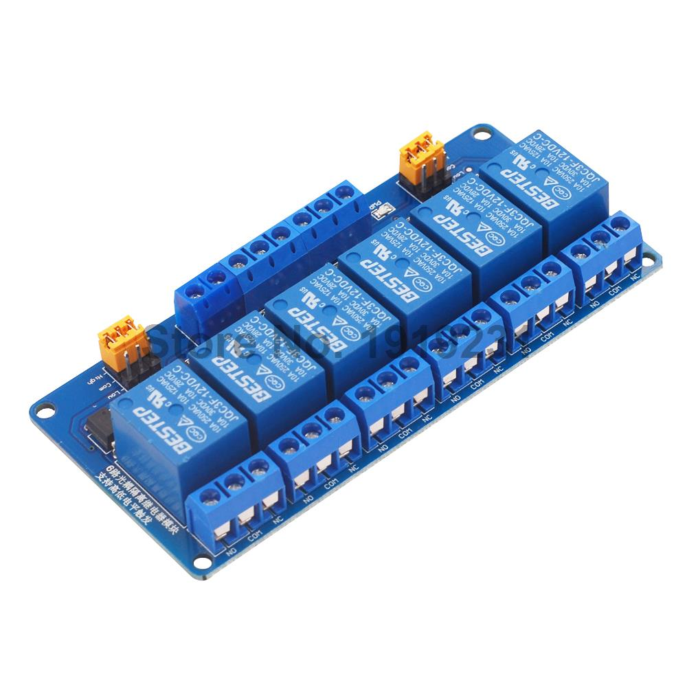 1PCS 12V 6 Channel Relay Module High and low Level Trigger 12V Relay Module1PCS 12V 6 Channel Relay Module High and low Level Trigger 12V Relay Module