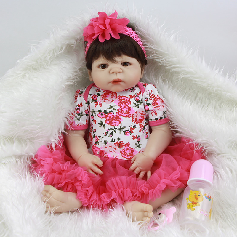 Rose Red Flower Reborn Girl Baby Dolls 23 Inch Lifelike Newborn Princess Babies Handmade Girls Toy With Silk Wig Birthday Gift handmade 18 inch girl doll plastic toy dolls for girls toy gifts 45cm princess dolls bjd doll with red dress and shoes