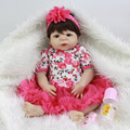 Rose Red Flower Reborn Girl Baby Dolls 23 Inch Lifelike Newborn Princess Babies Handmade Girls Toy With Silk Wig Birthday Gift