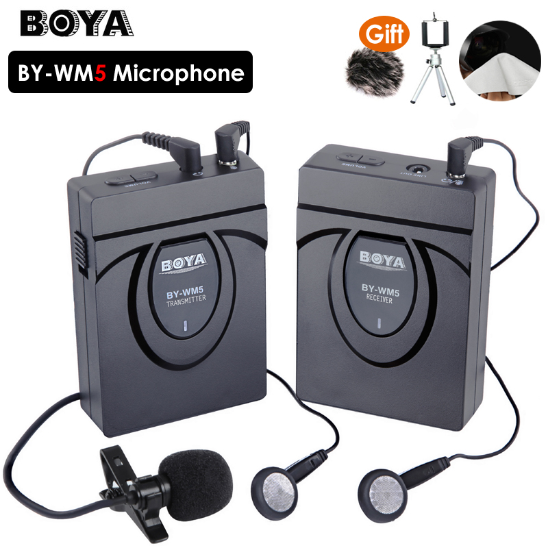 BOYA BY-WM5 Pro Wireless Lavalier Lapel Microphone System for DSLR Camera Camcorders Audio Recorder boya by wm5 dslr camera wireless lavalier microphone recorder system for canon nikon sony dslr camera camcorder audio recorder