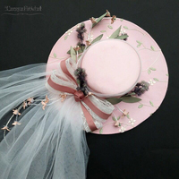 Pink/Ivory Wedding Fashion Hats Fairy Flowers Tulle Headpieces Women Hats vintage Accessories DH026