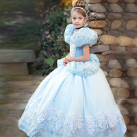 cinderella gril kids baby Nall Gown dress Costume Blue Queen Princess Dress up Halloween Christmas Party Sequined Cosplay