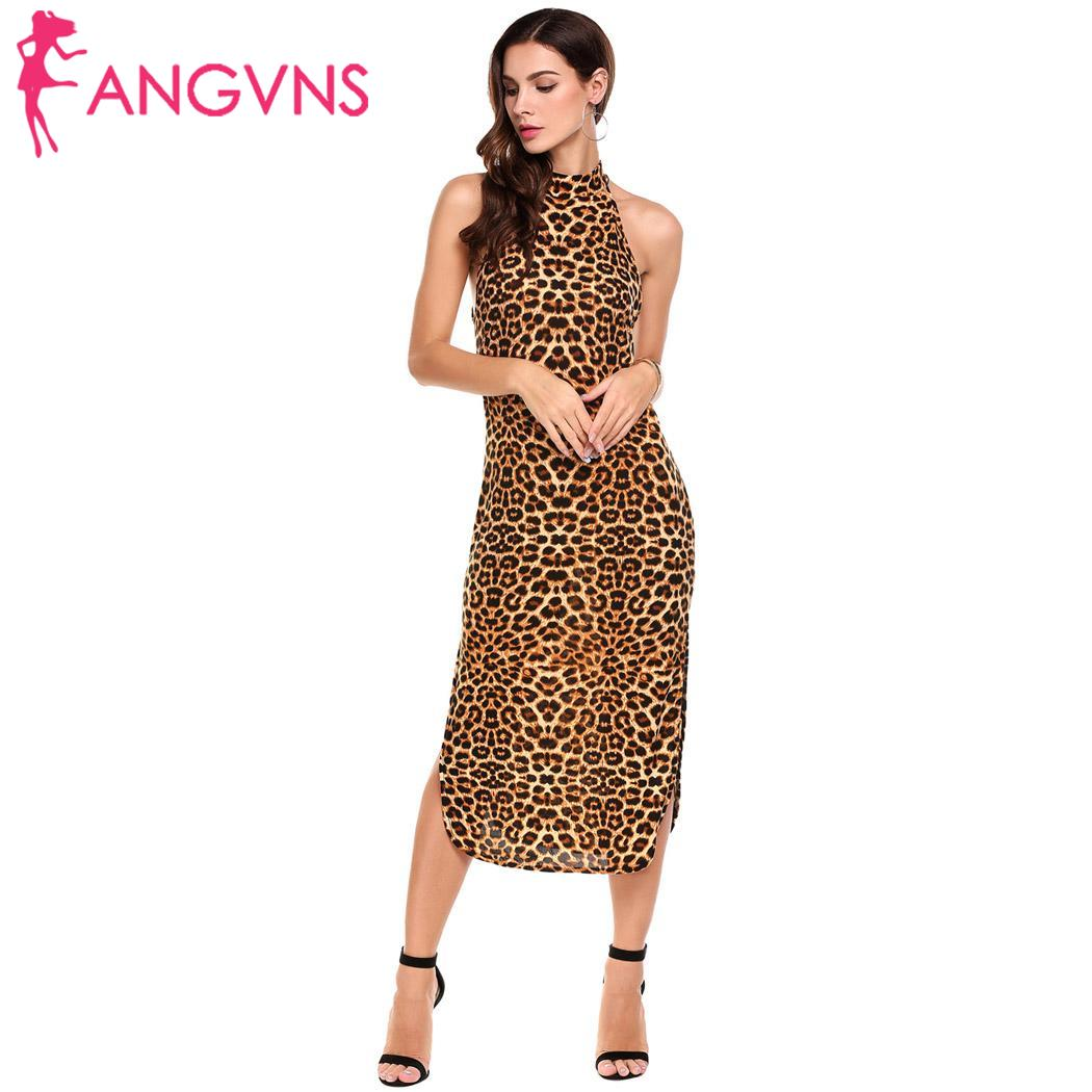 ANGVNS Sexy Halter Leopard Formal Dresses Women Sleeveless Side Split  Printed Long Dress Clubwear Evening Party Dress Plus Size-in Dresses from  Women s ... 42c9086cb