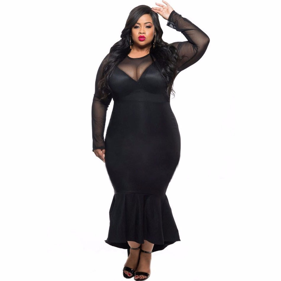 Black-Sheer-Mesh-Splice-Curvy-Mermaid-Dress-LC61086-2-2