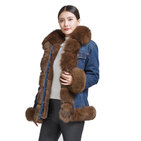 Real Fox Fur Denim Jacket Women Coat Parka Fur Collar Overcoat Winter Warm Women Clothing Parka Coat.