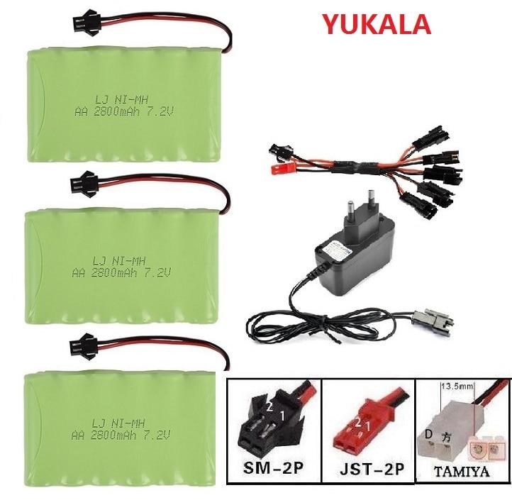 YUKALA 7.2V 2800mAh Ni-MH Rechargable Battery SM Plug For RC Truck/ RC Car/ RC Boat/RC Tank JST/SM/Tiamiya 7.2 V 2800 Mah
