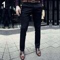 Moda Casual Slim Fit Color Sólido de los hombres Pantalones de Vestir Pantalones Flat Frente Pantalones