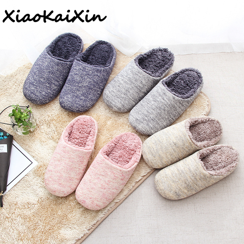 XiaoKaiXin Adults Simple Indoor Home Shoes for Winter Women and Men Warm Cotton Plush Solid color House Slippers Guests Elders цена 2017
