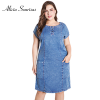 Plus Size Women Denim Summer Dresses New 2018 4XL 5XL 6XL Short Sleeve O Neck Blue Big Pockets OL Dress ZPZ713