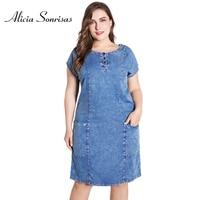 Plus Size Women Denim Summer Dresses New 2018 4XL 5XL 6XL Short Sleeve O Neck Blue Big Pockets OL Dress ZPZ713