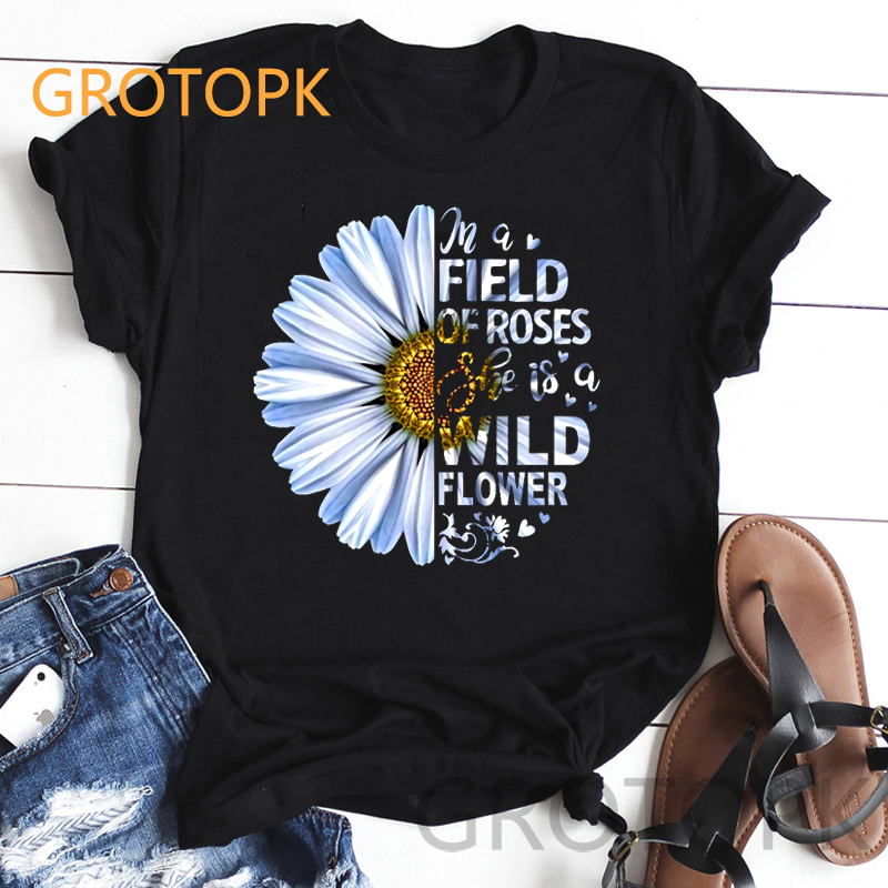 Elegant Wildflowers Print Harajuku Aesthetic Black T-shirts For Women Ulzzang 2019 Summer Female T-shirt BFF Clothes Tee Shirt