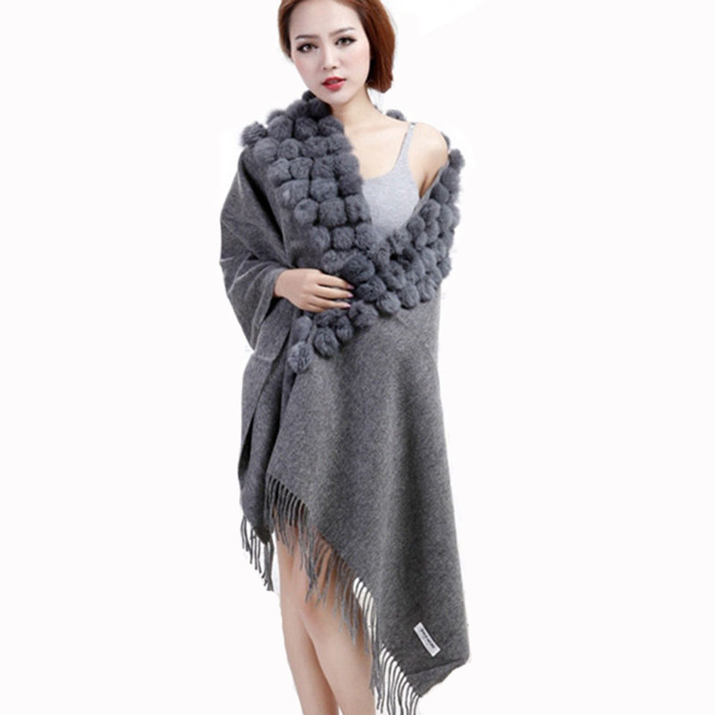 2019 pashmina fur shawl   scarf   for women High Quality Plain Rabbit Fur PomPom Winter Thick Pashmina Poncho lady elegant   wraps