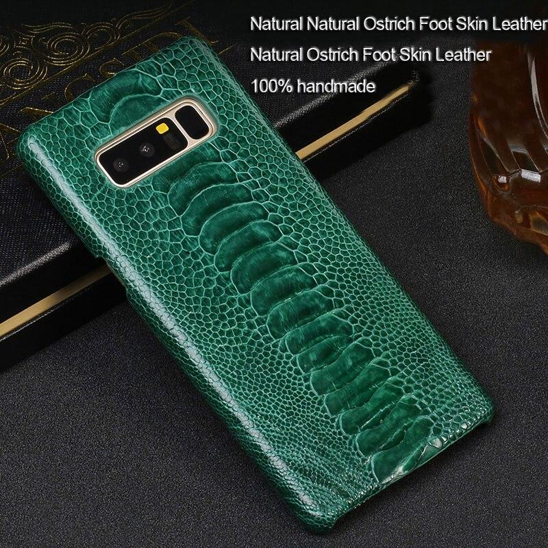 Étui pour peau de pied d'autruche naturelle de luxe étui pour samsung Galaxy S10 A50 a70 housse arrière en cuir véritable pour Galaxy Note 10 plus