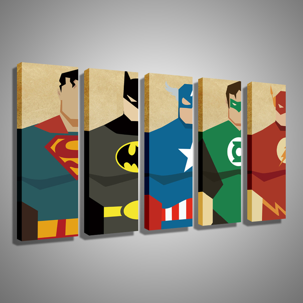 Oil Painting Canvas Super Hero Superman Batman Cartoon