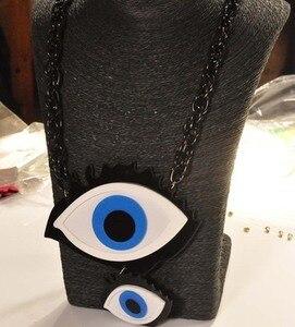 Collar largo negro 1 unidad ojo divertido forma de pestañas colgante collar suéter collar regalo de Gargantilla para las mujeres decoración de fiesta diaria